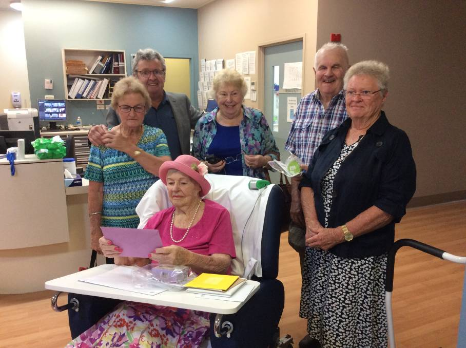 HAPPY BIRTHDAY: Irene and Kelvin Crowley, lifelong family friend Anne Groth, and Errol and Kerry Groth with Doris Crowley, who turned 100 on January 18.
