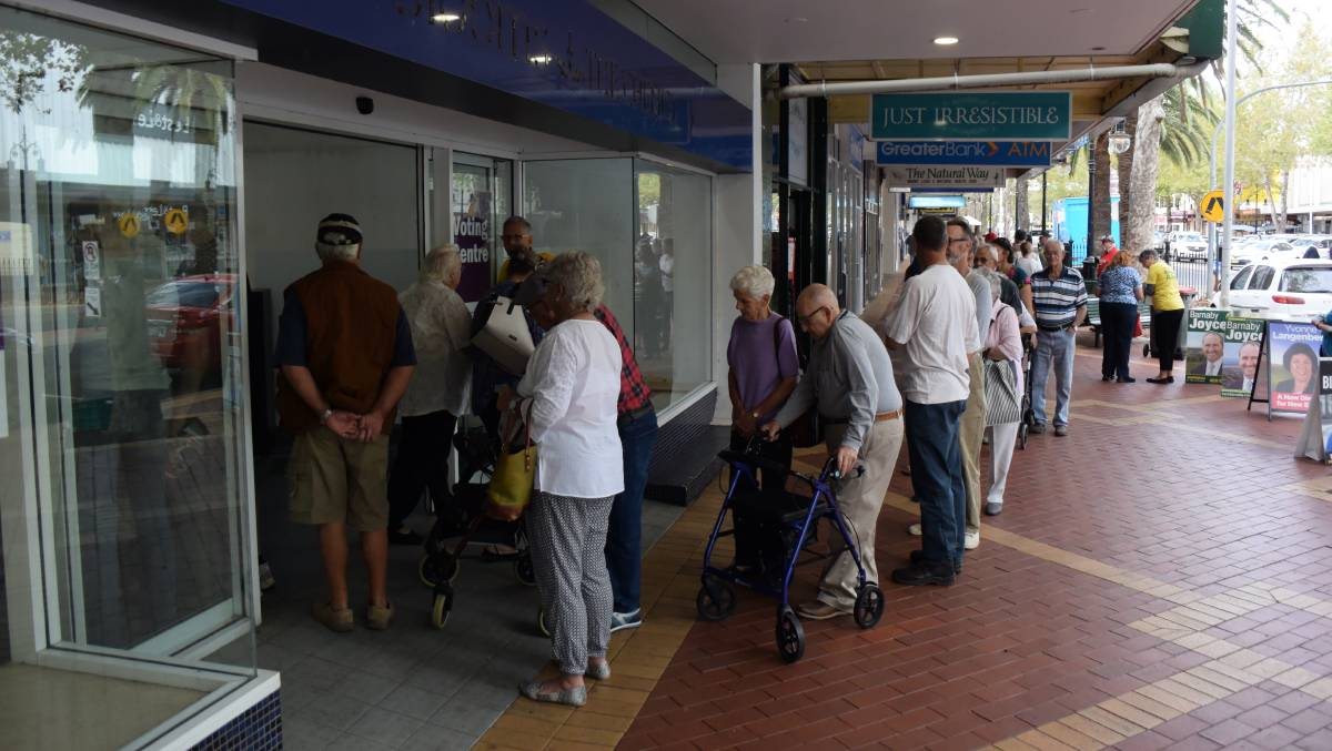 GETTING IN EARLY: Almost a thousand people a day are visiting the Tamworth pre-poll booth.
