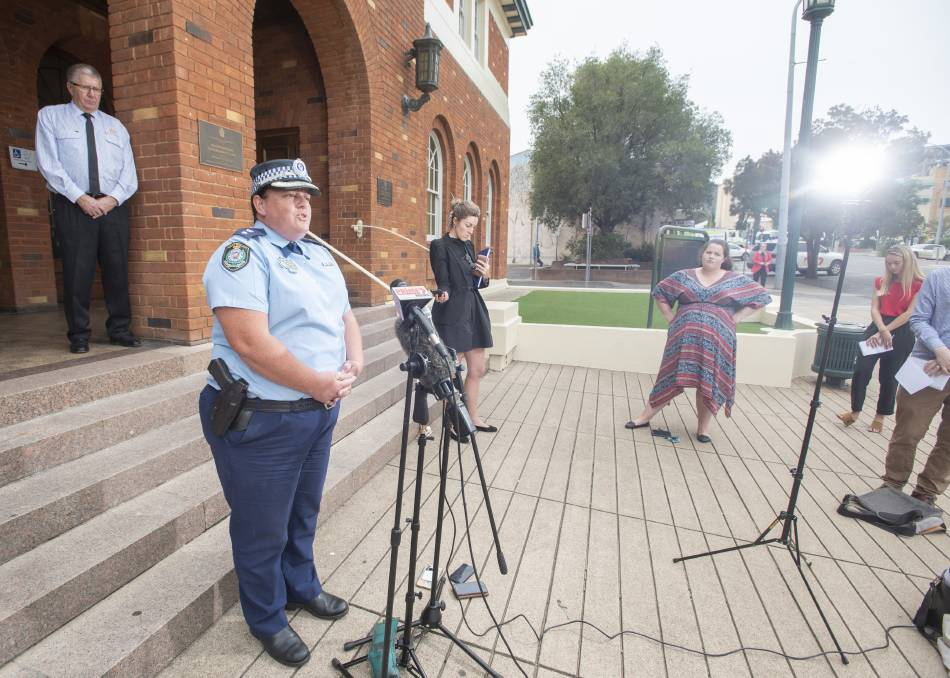 Police on patrol: Oxley Superintendent Kylie Endemi in Tamworth on Monday. Photo: Peter Hardin 300320PHA041