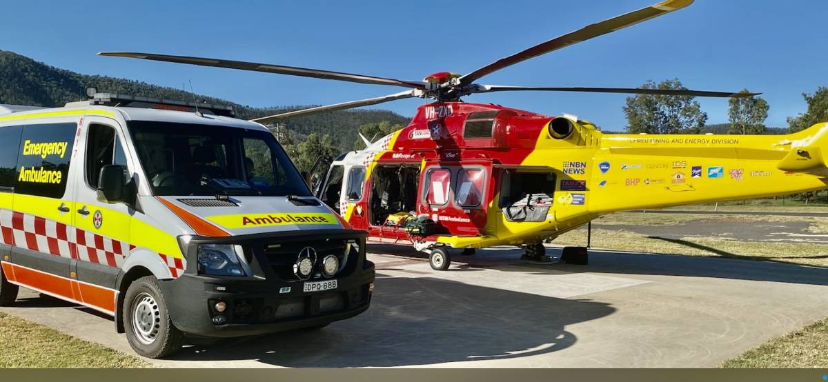 Mission: Paramedics and the Westpac Rescue Helicopter on scene at Bingara hospital on Friday afternoon. Photo: Westpac Rescue Helicopter Service