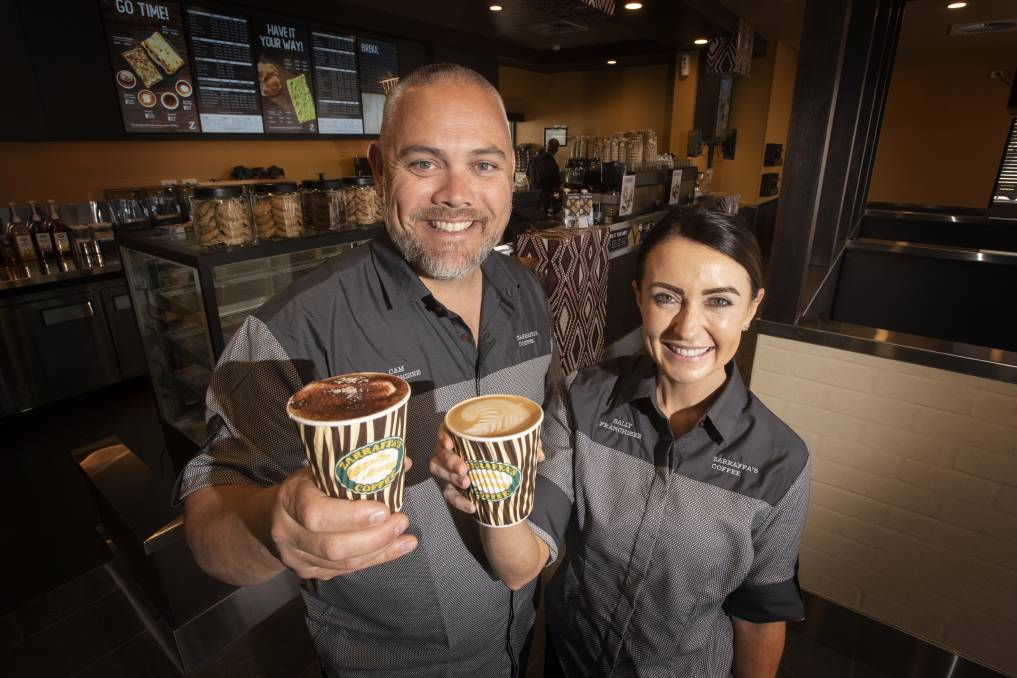 CUPPA: Tamworth franchisees Cam Lane and Sally Cook are excited for their first day of trading at Zarraffa's Coffee. Photo: Peter Hardin