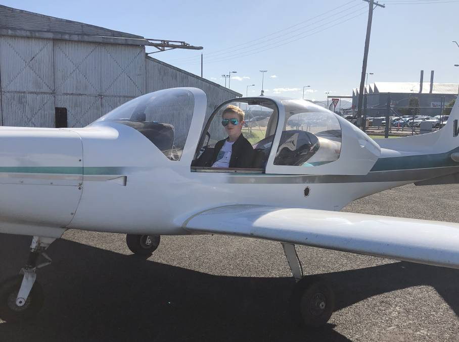 CRUISING: Ji Thorley spent his birthday morning flying high over Tamworth after taking off on his first solo flight. Photo: Sharryn Thorley