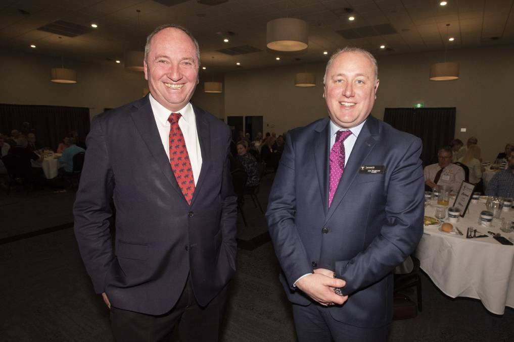 Business summit: Barnaby Joyce and Jye Segboer at this week's State of the Nation event. Photo: Peter Hardin