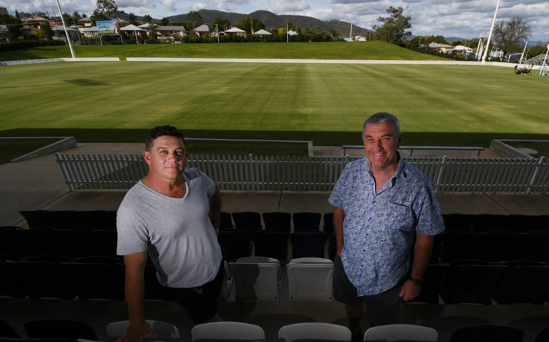 HEADQUARTERS: The Pub Group manager Craig Power and Wests Entertainment Group chief executive Rod Laing at Scully Park. Photo: Gareth Gardner 290420GGB05