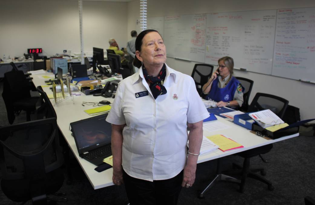 BEHIND THE SCENES: NSW RFS logistics officer Robyn Martyn at the Liverpool Plains Fire Control Centre. Photo: Madeline Link