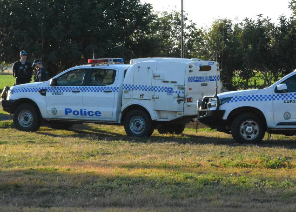 MURDER CASE: Oxley police at the property on the outskirts of Gunnedah after the young girl's body was discovered earlier this year. Photo: ACM