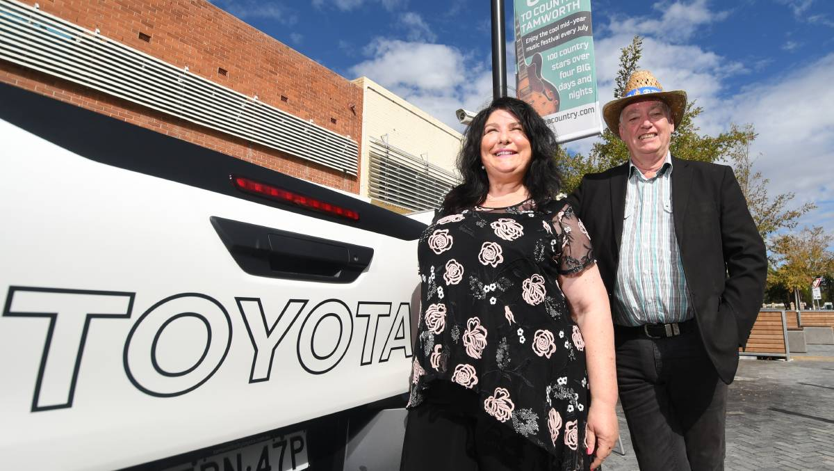 BACK ON SALE: Tamworth Country Music Festival coordinator Cheryl Brown and manager Barry Harley at the launch of the mid-year Hats Off to Country Festival. Photo: Gareth Gardner 160519GGA11