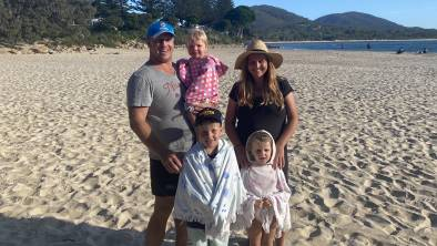 Mainstay: Pirates front rower Bart Leach, pictured here with wife Cath and children Max, Molly and Sadie, is packing down for his 14th season with the club.