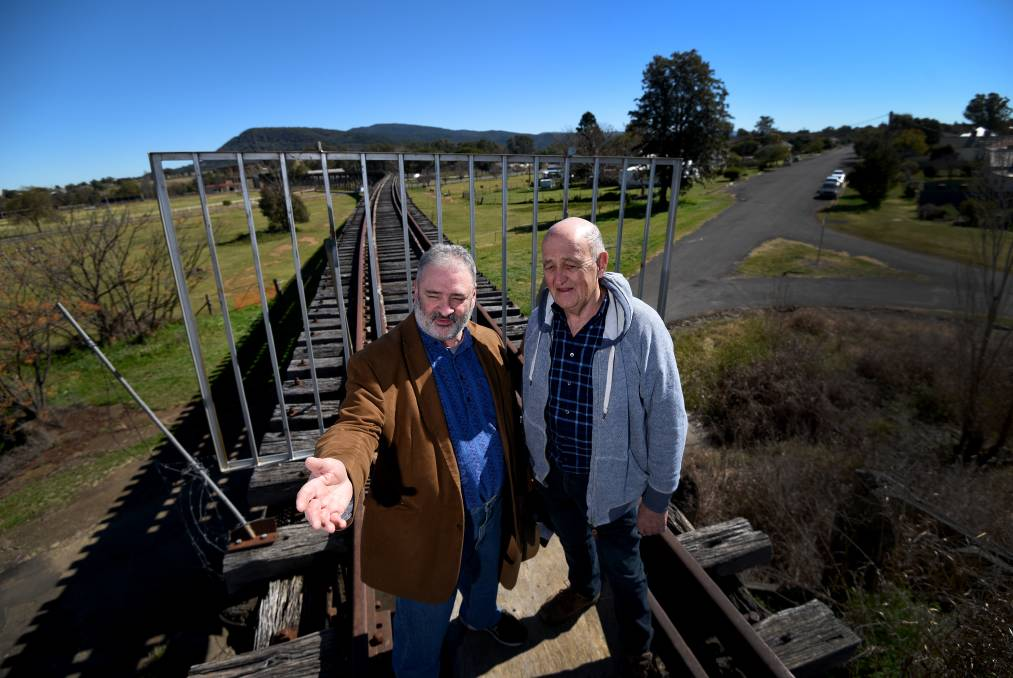PRIORITY: Rail Trails for NSW deputy chair Tim Coen and chairman John Moore see great potential in the Manilla viaduct as a local tourism project gathers steam. Photo: Gareth Gardner 290717GGB02