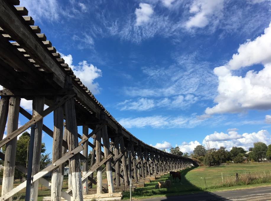 END OF THE LINE: Manilla's wooden viaduct bridge could be facing the chop under a proposal by John Holland Rail. Photo: Supplied