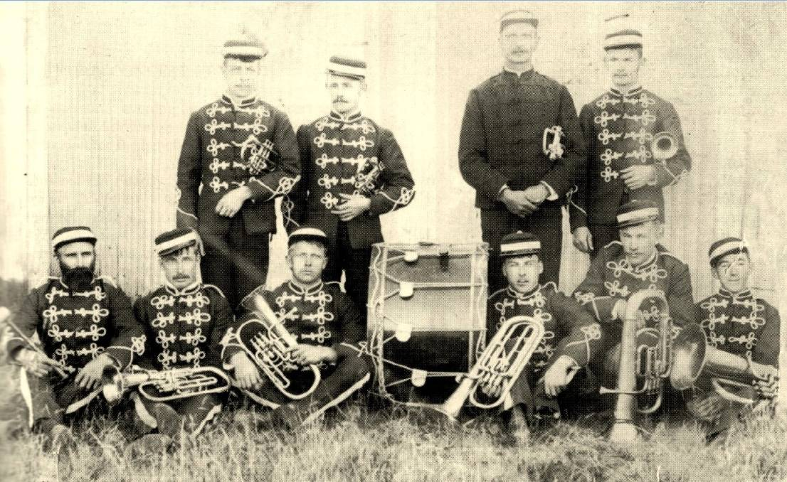 Players: The Walcha Oddfellows Band c.1890 – Percy Bath is standing second from the left, all other bandsmen unidentified.